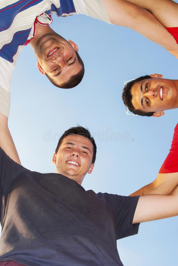 Friends winning team together stock photography