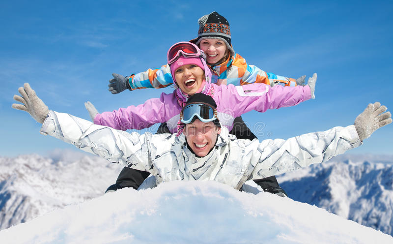 Friends in winter resort stock photography