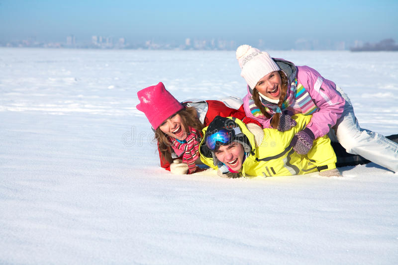 Download Friends in wintertime stock image. Image of happiness - 27398797