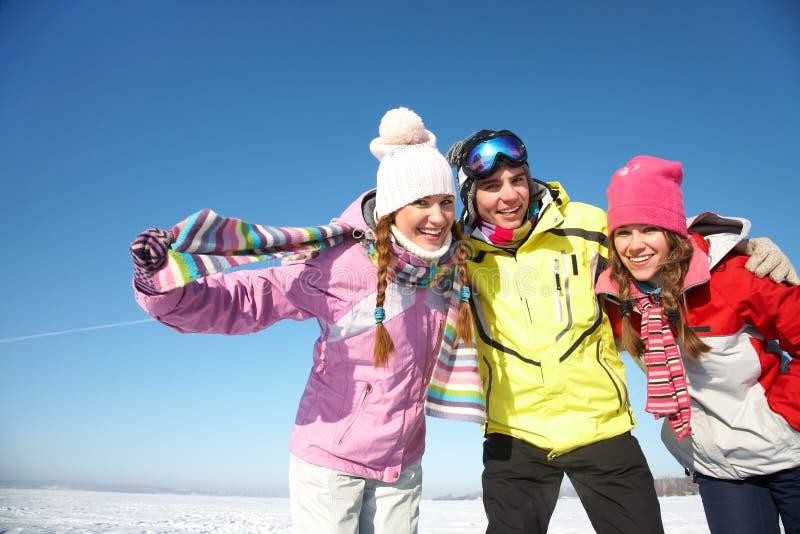 Friends in wintertime stock photo