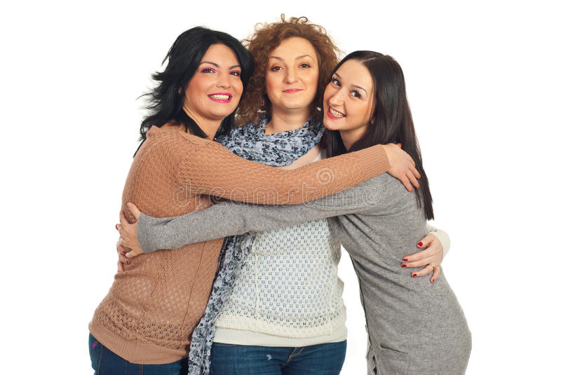 Friends women embracing stock photography