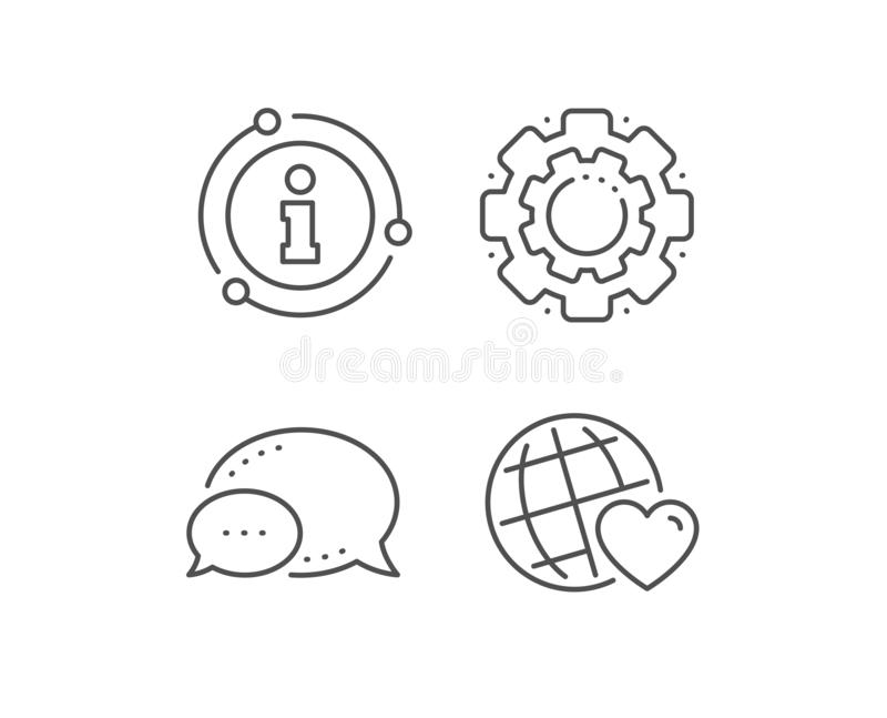 Friends world line icon. Friendship love sign. Assistance business. Vector. Friends world line icon. Chat bubble, info sign elements. Friendship love sign stock illustration