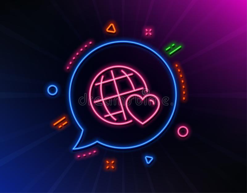 Friends world line icon. Friendship love sign. Assistance business. Vector. Friends world line icon. Neon laser lights. Friendship love sign. Assistance business royalty free illustration