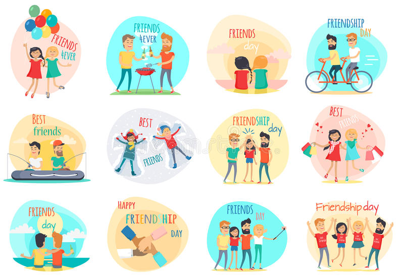 Friendship Best Friends Forever. Relations. Vector. Friendship. Best friend forever. International friends. Celebration happy friends day. Positive emotions royalty free illustration