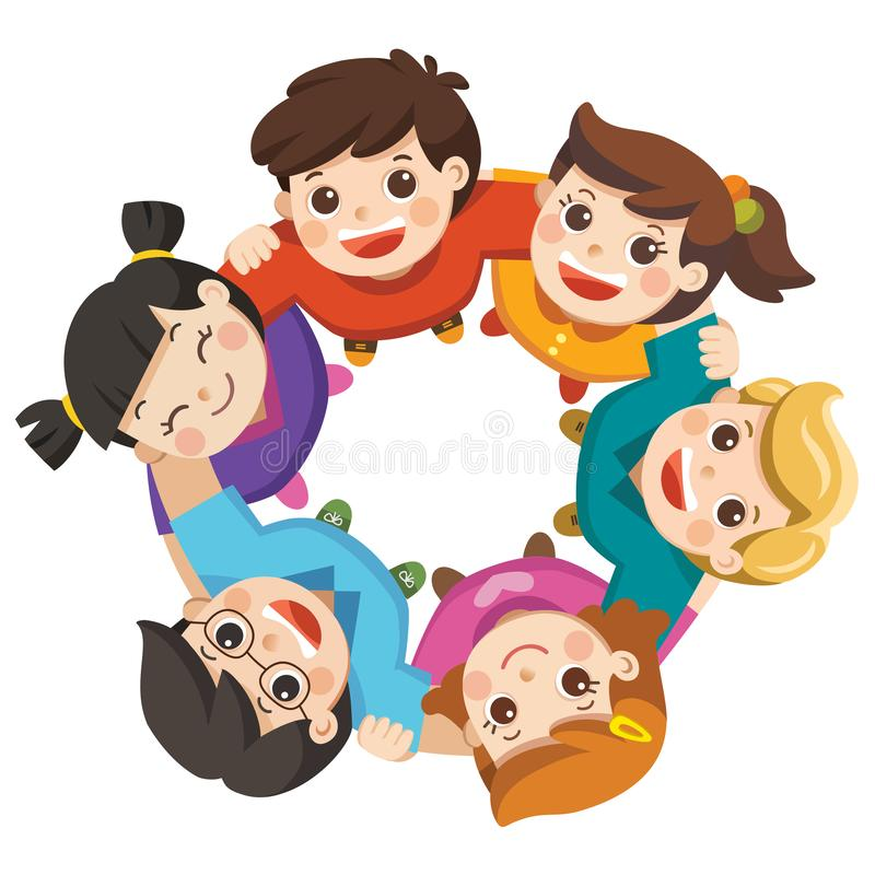 Friendship boys and girls standing arm in arm forming a circle. Friendship boys and girls standing arm in arm forming a circle looking up at the viewer. Happy stock illustration