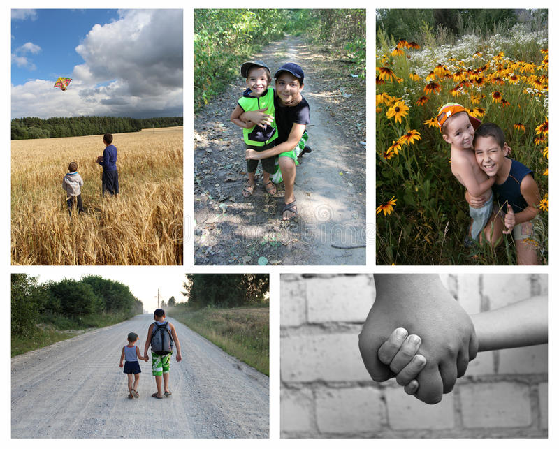 Friendship brothers. Collage stock photo