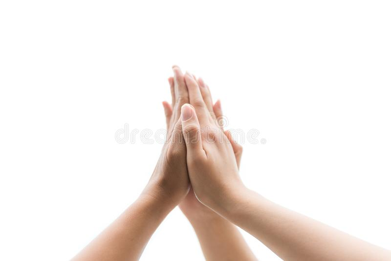 Friendship Day concept. Hands hit and join together stock images