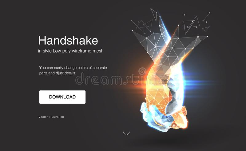 Friendship day. Handshake. Abstract handshake. effect of technological innovation, the future. Gesture of unity or union together. Friendship day. Handshake stock illustration