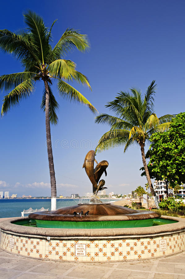 Friendship fountain in Puerto Vallarta, Mexico royalty free stock images