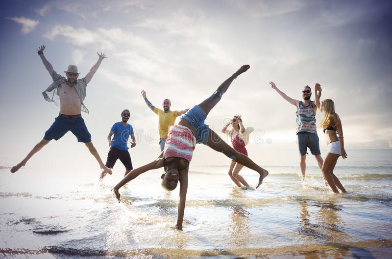 Friendship Freedom Beach Summer Holiday Concept.  royalty free stock image