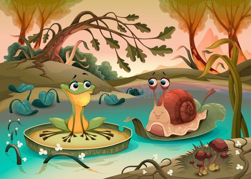 Friendship between frog and snail. Vector cartoon illustration vector illustration