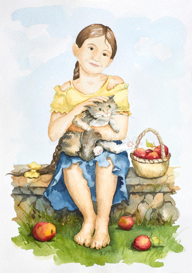 Friendship of a girl and a cat. (hand-drawn watercolor illustration