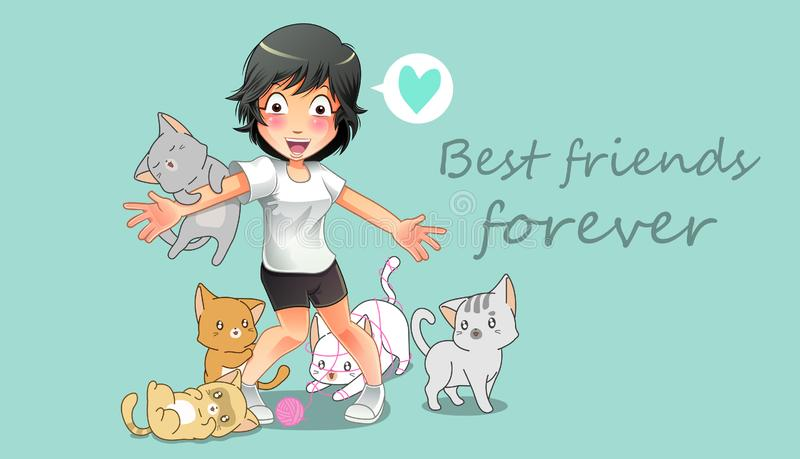 Friendship of girl and many cat. In cartoon style stock illustration
