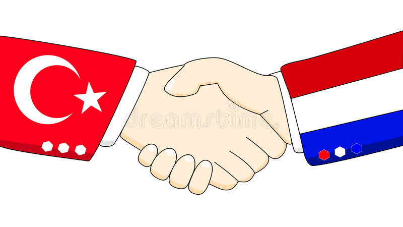 Friendship handshake of turkey and the netherlands illustration. Illustration of two persons shaking hand with country colored arms of the netherlands and turkey royalty free illustration