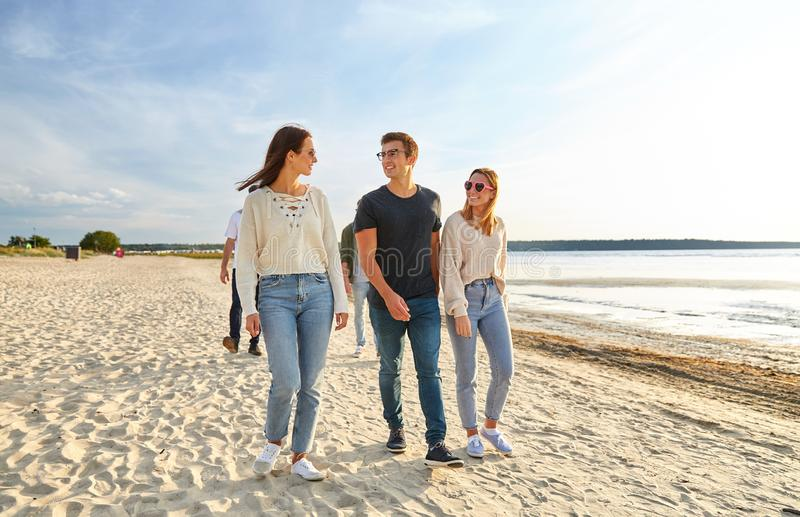 Happy friends walking along summer beach royalty free stock image