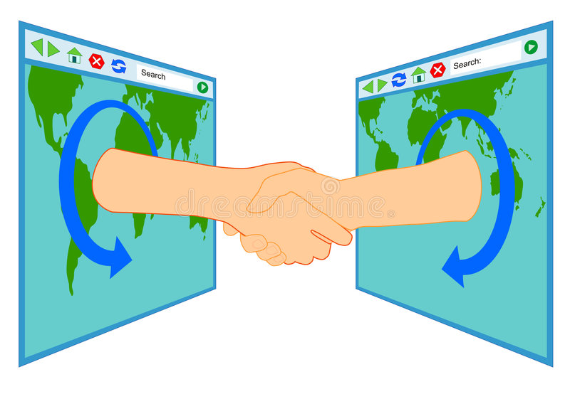 Friendship over the internet. Vector illustration of a handshake over the internet vector illustration