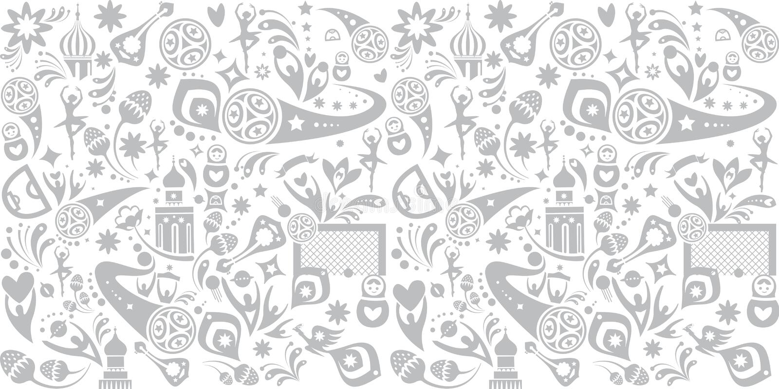 2018 Russia World Cup soccer seamless pattern print. Football 2018 Russia World Cup Abstract football tournament background, seamless pattern, dynamic texture royalty free illustration