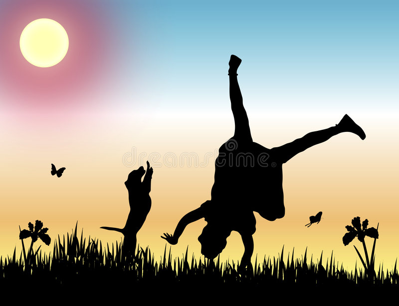 Friendship at Sunset stock illustration