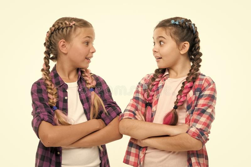 Friendship support and trust. Sisterhood goals. Sisters together isolated white background. Sisterly relationship. Sisterhood is unconditional love. Girls cool stock photos