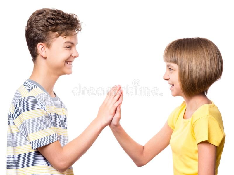 Friendship teen boy and girl royalty free stock photography