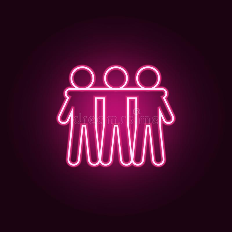 friendship of three icon. Elements of Conversation and Friendship in neon style icons. Simple icon for websites, web design, royalty free illustration