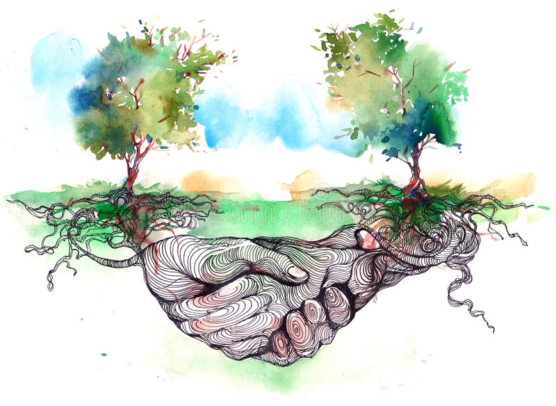 Friendship. Tree roots entwined in a friendly handshake vector illustration