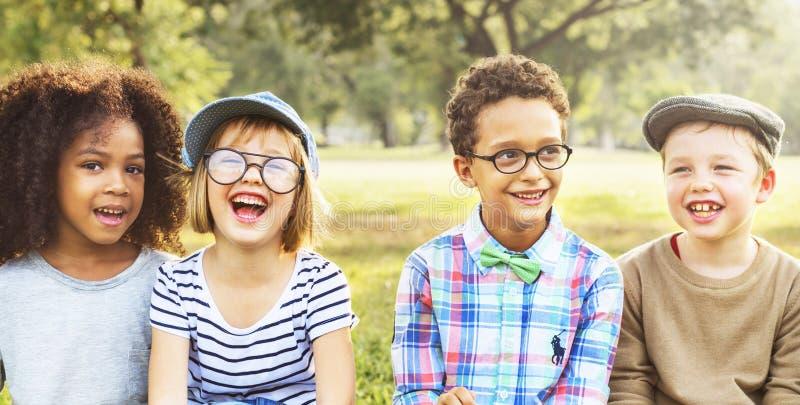 Friendship Trendy Playful Leisure Children Kids. Concept royalty free stock photo