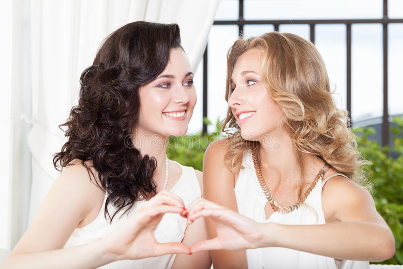 Friendship. Two best friends sharing one common heart royalty free stock images