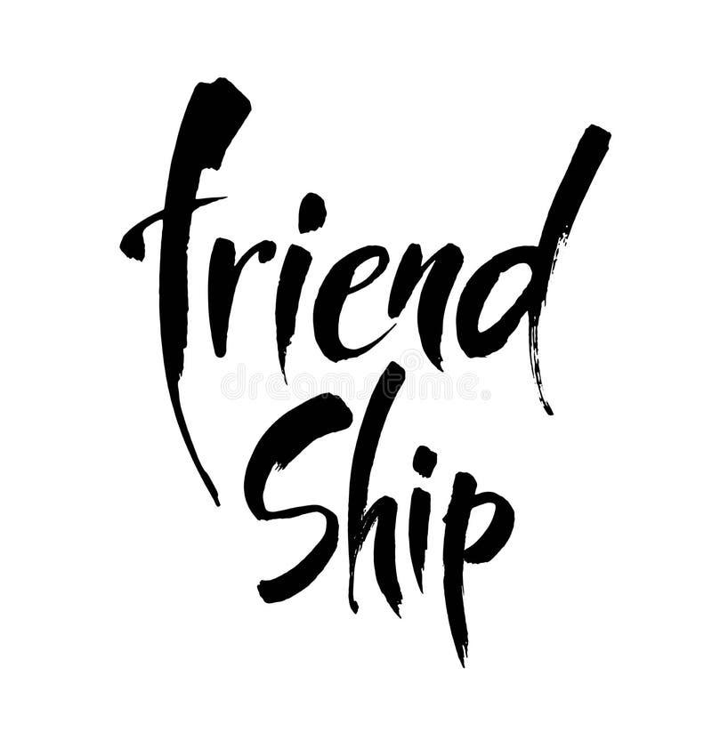FRIENDSHIP. Vector typographic design. Hand drawn illustration. Lettering poster. Modern brush calligraphy. stock illustration