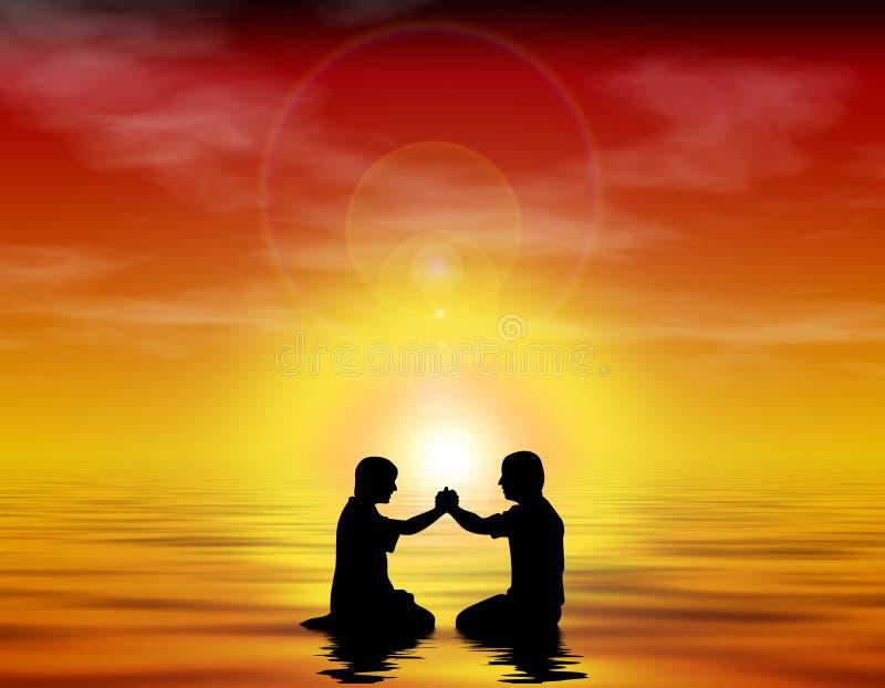 Friendship, Worship, Baptism. Graphic Image symbolizing friendship, worship, and baptism with lens flare royalty free illustration
