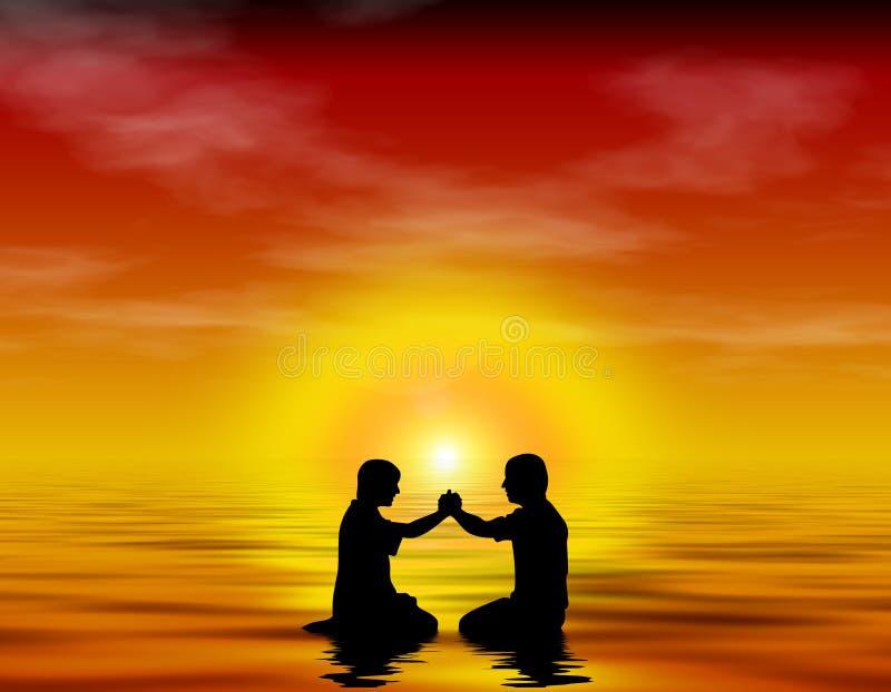 Friendship, worship, baptism. Graphic Image symbolizing friendship, worship, and baptism stock illustration