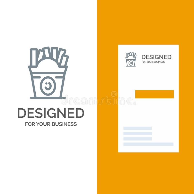 Fries, Fast food, Food, Usa Grey Logo Design and Business Card Template royalty free illustration