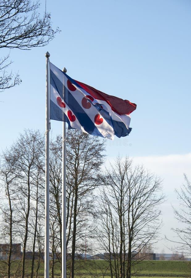 Friesland en de Nederlandse vlag samen stock foto's