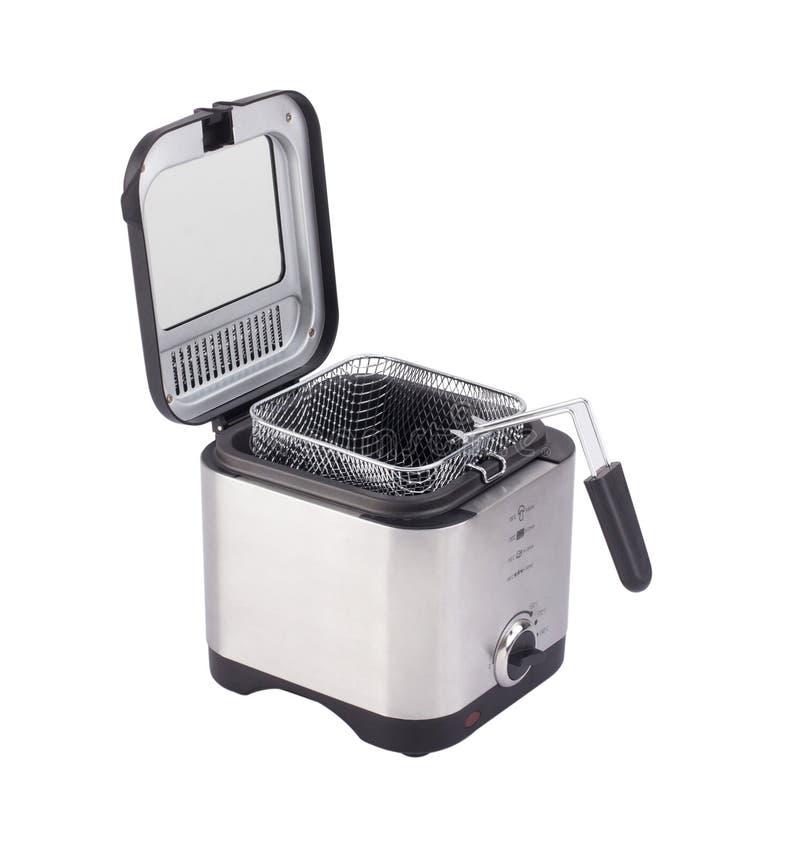 Friet of frituurpanmachine op wit wordt geïsoleerd dat stock afbeelding