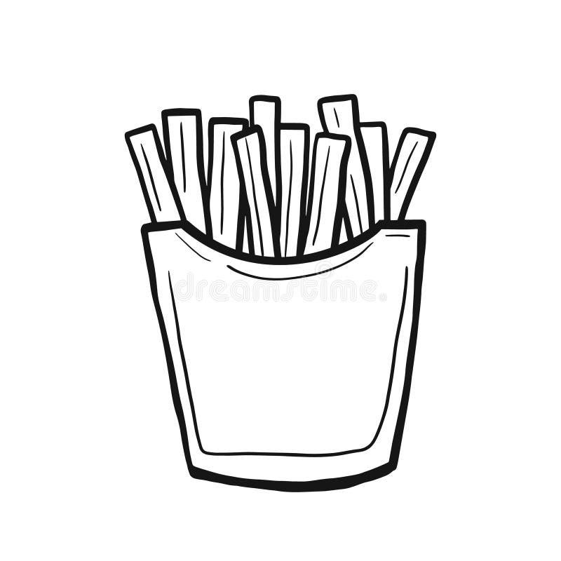 friet Vector lineaire doedelstijl Freehand-illustratie Snel eten vector illustratie