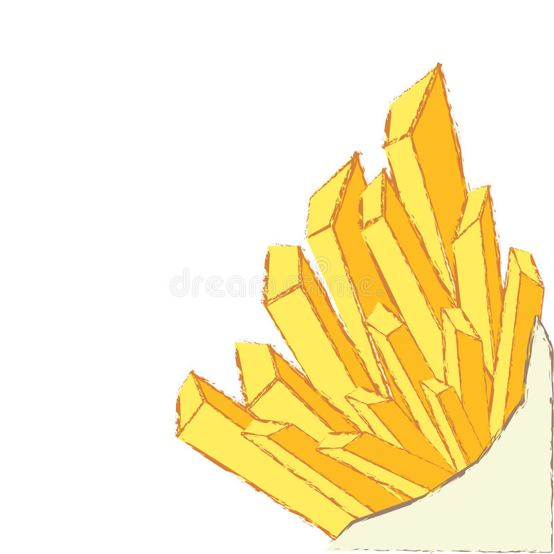 Frieten die op witte vector worden geïsoleerdj royalty-vrije illustratie