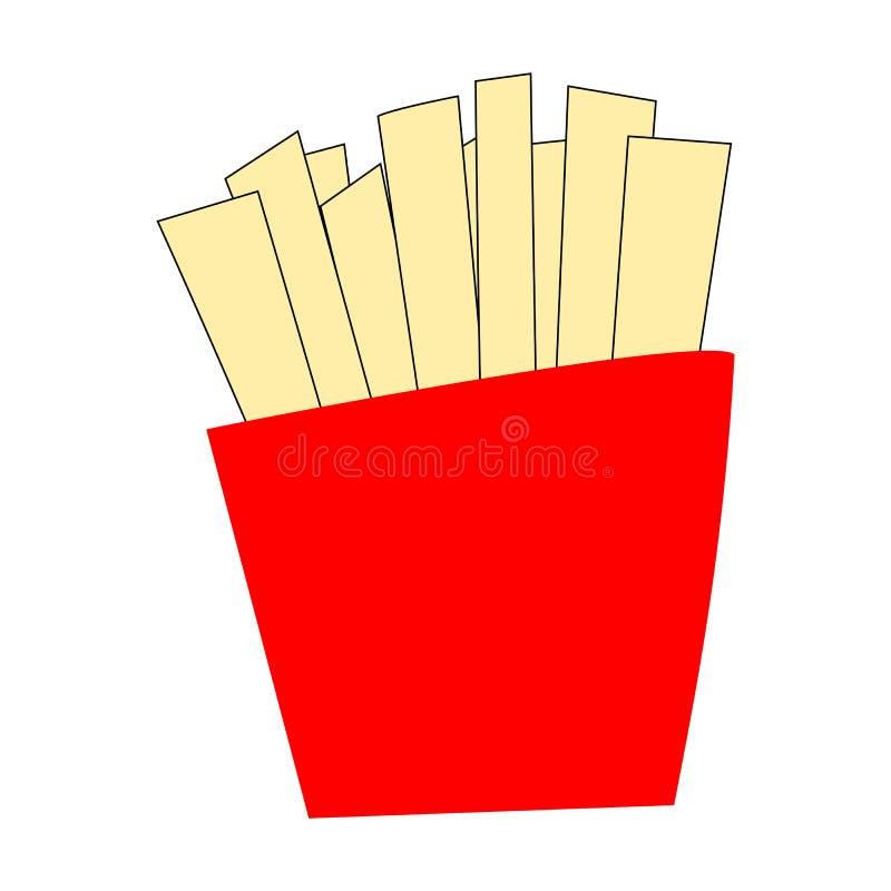 Frieten in rood pakket, gefrituurde gesneden die aardappelstok op witte achtergrond wordt geïsoleerd vector illustratie