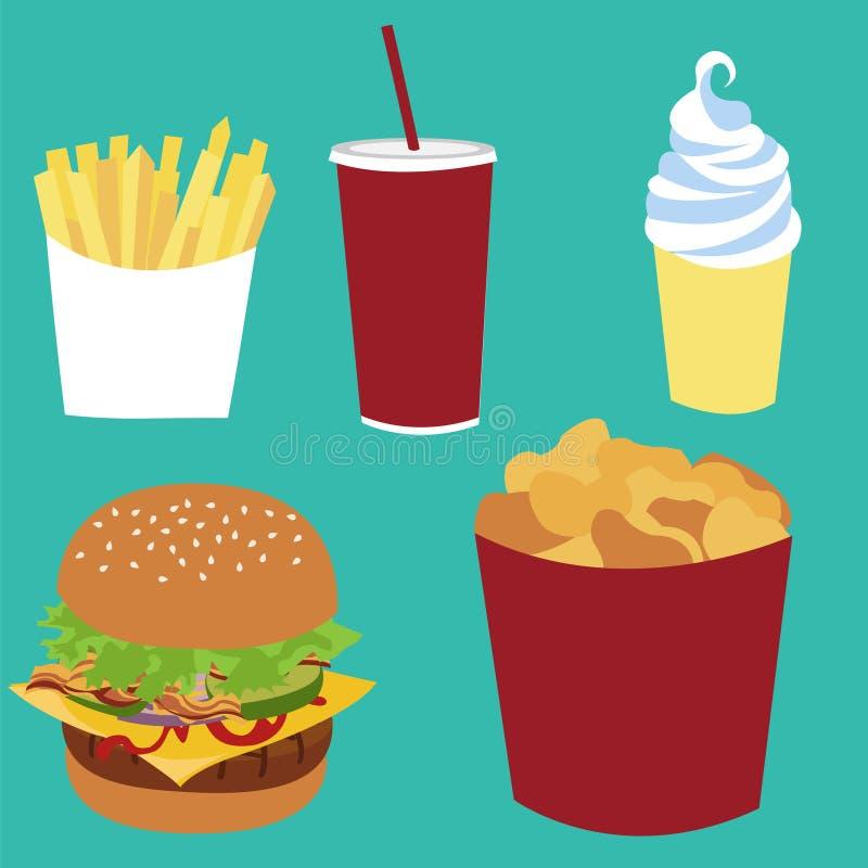Frieten, sodacokes, roomijs, cheeseburger, het snelle voedsel van de goudklompjesemmer vector illustratie
