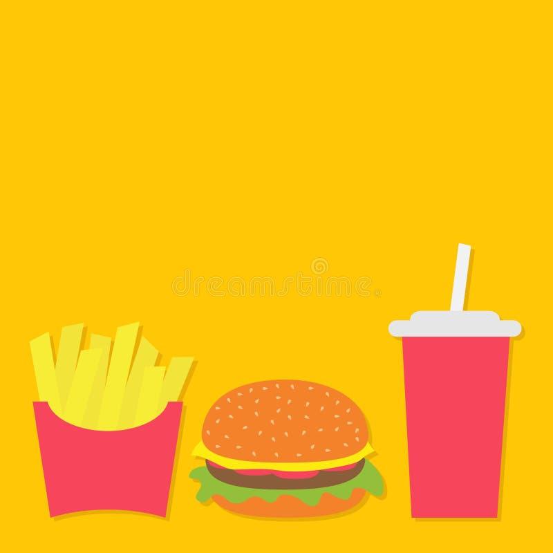 Frietenaardappel in een document omslagvakje Hamburger Het glas van de sodadrank met stro Gebraden aardappels Vector op CMYK-wijz stock illustratie
