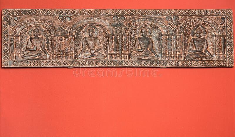 Frieze που παρουσιάζει ινδικούς Θεούς στοκ φωτογραφία