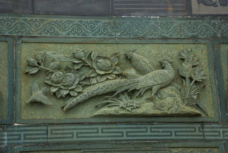 Frieze το peacock Κινεζικός ναός Pek Kong Tua Πόλη Bintulu, Μπόρνεο, Sarawak, Μαλαισία στοκ εικόνες