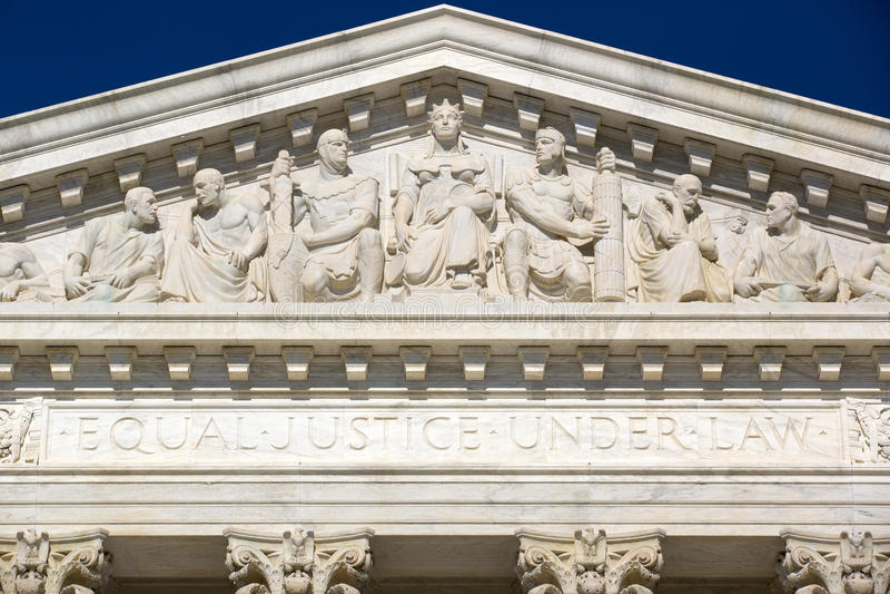 Frieze at the Supreme Court stock photos