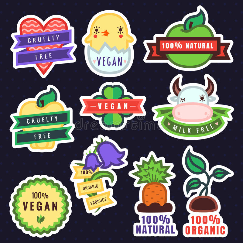 Frigör naturliga organiska den flerfärgade strikt vegetarian för vektorn, grymhet, och produktklistermärkear stock illustrationer