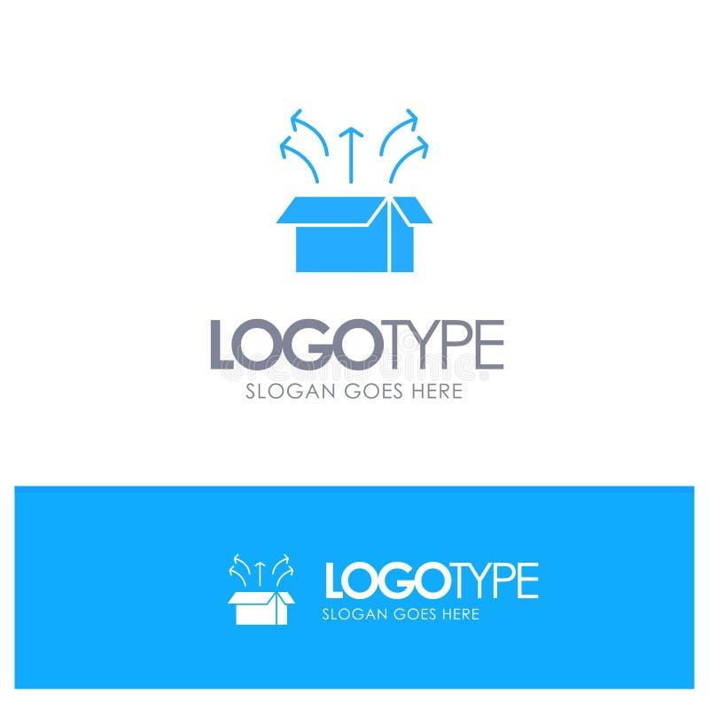 Frigörare ask, lansering, öppen ask, blå fast logo för produkt med stället för tagline royaltyfri illustrationer