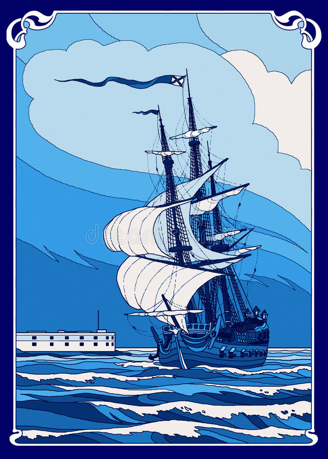 Frigate. There is the wind-driven frigate at-sea. Illustration stock illustration