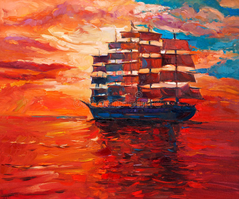 Frigate. Original oil painting of sailing frigate or ship and sea on canvas.Rich Golden Sunset over ocean.Modern Impressionism royalty free illustration