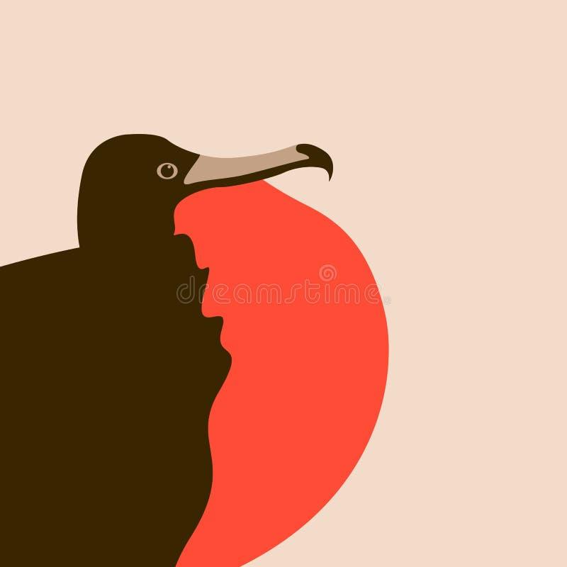 Frigate bird vector illustration flat style profile. Side royalty free illustration