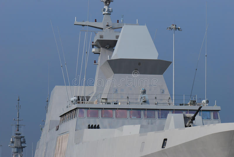 Frigate Bridge. A photo taken on the command bridge of a frigate combat patrol ship stock images