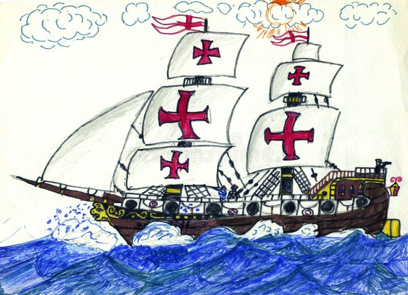 Download Frigate stock illustration. Image of sails, masts, sailor - 37441413