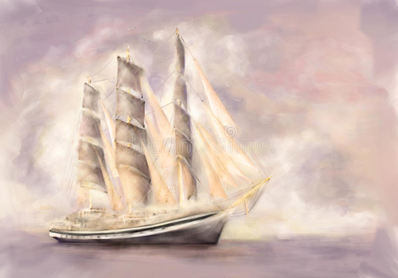 Frigate in full sail vector illustration